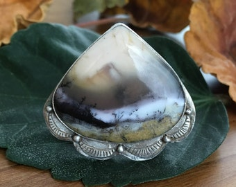 Sterling Silver and Dendritic Opal Ring