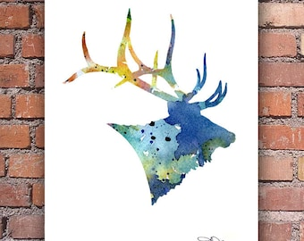Blue Elk Art Print - Abstract Watercolor Painting - Wall Decor