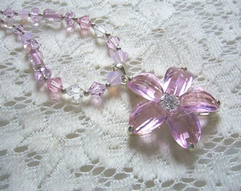 Summer Pink Flower Bling Sterling Necklace  Free Shipping