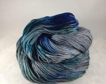Ice Troll: Hand dyed yarn - grey, blue, teal, green