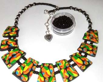 Abstract Multicolour Collar Necklace, Polymer Clay Necklace, Multicolour Jewelry