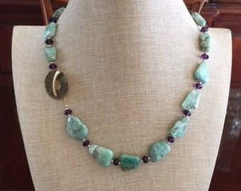 African Turquoise and Amethyst Necklace with Gold Accent Beads
