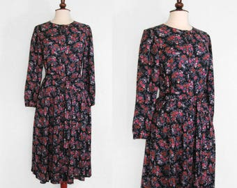 Mini-floral on black print challis drop-waist dress