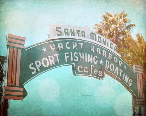 Vintage Santa Monica California Beach Sign Art Print Blue