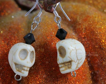 Halloween Skull Earrings Day of the Dead Jewelry Black Swarovski Crystal Sterling Silver Spooky Halloween Costume Accessory Haunted Mansion