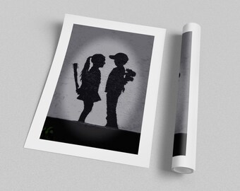 Banksy Girl Meets Boy Archival Canvas Print