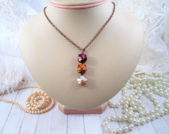 Swarovski crystal pendant necklace/3-stone necklace/12mm necklace/Copper necklace/3-stone drop necklace