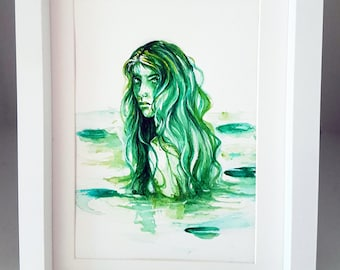 FINE ART Original Watercolour Painting - Frog Princess - Sea Witch - Mermaid Painting OOAK Fairytale Folklore - Illustration Ethereal  Magic