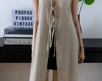 Shirt long sleeve beige tunic with panels and ties history of women size 1