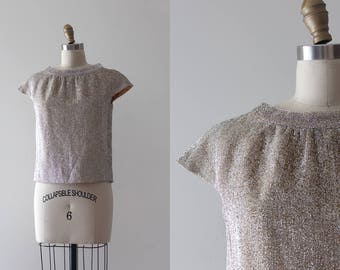 vintage 1960s gold blouse // 50s 60s shimmery top