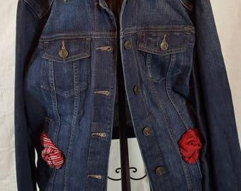 Repurposed denim jacket using upcycled denim