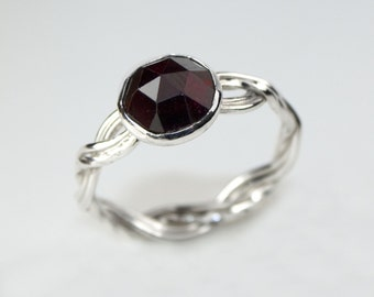 Handmade Sterling Silver Twisted Four Strand Woven Ring with Faceted Garnet Cabochon Gemstone