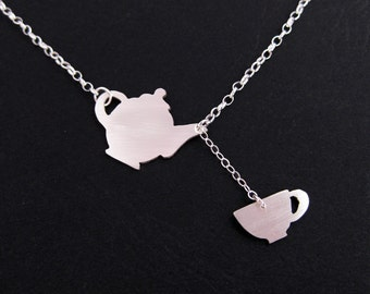 Teapot Necklace - Teacup Necklace - Sterling Silver Tea Jewelry  - Fairy Tale Jewelry - Tea Lover Gift