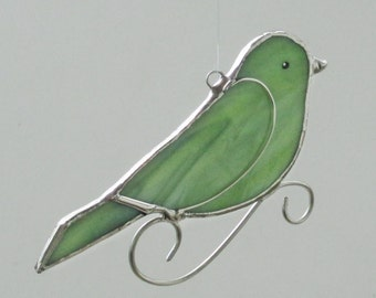 Lime Green Stained Glass Bird Home Decor Suncatcher