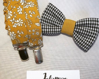 All straps and bow tie mustard gingham men liberty