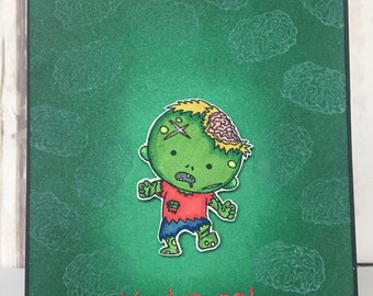 Handmade inspirational zombie card, friendship card, handmade encouragement card, zombie survival, thinking of you