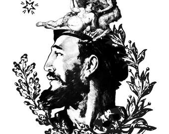 Political Poster Tee, World leader Communist Tshirt, Caribbean Hispanic Man, Vintage Soviet Poster, Bacchanal Art Top, Heraldry print Tshirt
