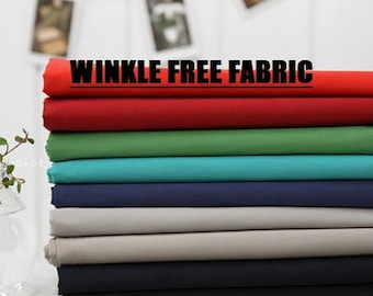 Wrinkle free ,High density Fabric, by Yard, 7 Colours