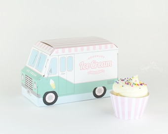 Ice Cream Party Favor Box, Ice Cream Truck Cupcake Box - Set of 4, Pastel Packaging, Birthday, Ice Cream Social, Sweet Shoppe, Centerpiece
