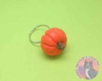 Pumpkin Ring - OOAK and ADJUSTABLE! - Polymer Clay Charms