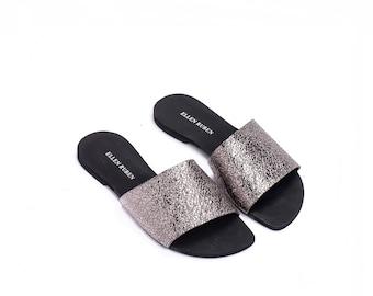 Women's Sandals, Leather Slides, Slide Sandals, Silver Sandals, Flat Sandals, Slip On Sandals, Women's Slides, Women's Shoes, Flip Flops