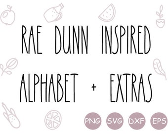 Rae Dunn inspired alphabet SVG, SVG font, Rae Dunn font, font with extras, thin font, PNG clipart, digital download, cut files, circuit font