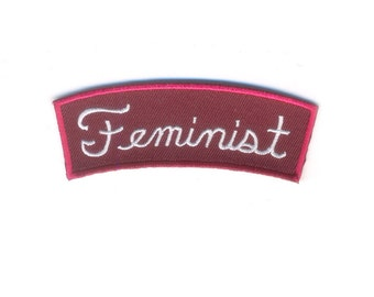 Feminist Patch - Red and White Women's Rights Advocate Iron on Patch - Feminism