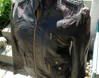 Ecofashion brown pleather ladies jacket with lace and frills size largefree domestic shipping