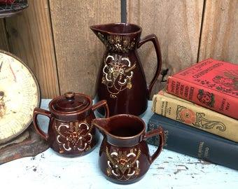 Vintage Coffee Set - Vintage Tea Set - Hand Painted Coffee Set - Hand Painted Tea Set - Royal Sealy Set - Vintage Drink Set