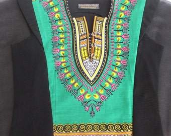 "Blouse ""bad""/silk-shiffon/high fashion/airy/cotton/summer/luftig/africa/black -green-yellow/shirt/pad/boho/noble by ELENAMODA."