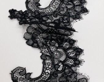 Black lace Trim, French Lace, Chantilly Lace, Bridal lace, Wedding Lace, Garter lace, Evening dress lace, Lingerie Lace, yard EVSL062C_1