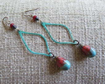 turquoise and red earrings, rustic earrings, boho earrings, festival earrings, long earrings, long red earrings, western earrings, long red