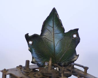 steampunk leather eye patch , leaf shaped (made to order)