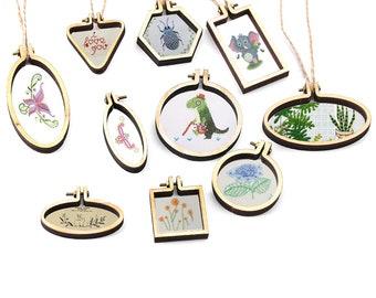 Mini Embroidery Pendant Kit - FREE Shipping - Mini Embroidery, Embroidery Frames, Embroidery Pendant, Embroidery Kit, Embroidery Hoop