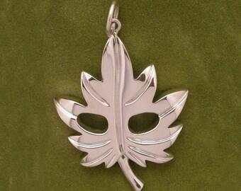 Leaf mask pendant - Sterling silver