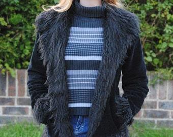 90s Vintage Black Velvet Faux Fur Coat Afghan Penny Lane Style