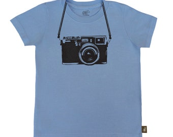 Organic S/S Mid Blue Camera Tee Shirt - 6 months to 12 years