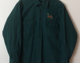 L.L. Bean Vintage Chamois Cloth Flannel Shirt Green Embroidered Deer Button  Front Long Sleeve Mens Size