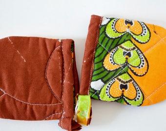 African Fabric Kitchen Pot Holders - Heart Fabric Pot Holders - Kitchen Ustensiles - Pot Holders UK - African Wax Fabric Pot Holders
