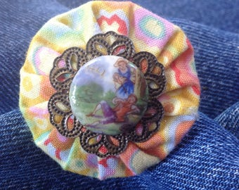 Romantic ring, yoyo and Limoges porcelain cabochon flower