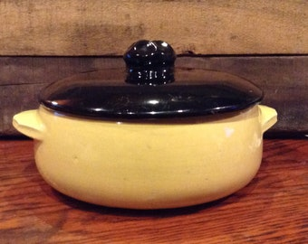 McCoy Casserole Dish -Yellow With Black Lid