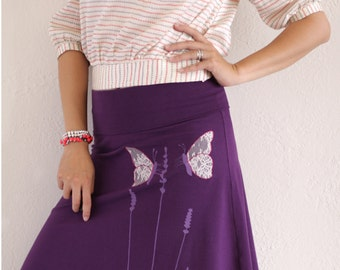 Plus sized clothing, Comfortable skirt, Purple cotton lace skirt, Floral summer skirts, Midi skirt outfit, Foldover - Butterfly and Lavender