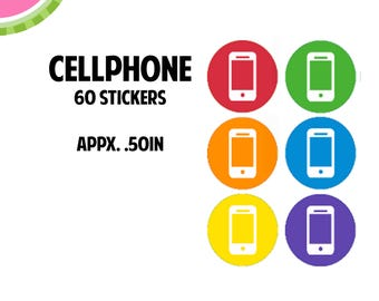 Cellphone Icon Stickers | 60 Kiss Cut Stickers | IC057