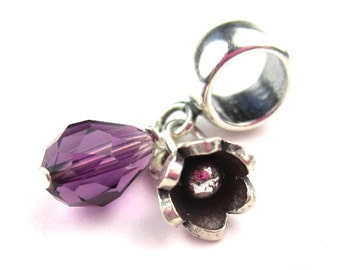 European Bracelet Crystal Flower Charm Sterling Silver Birthstone Charm Dangle Bead Choose Color