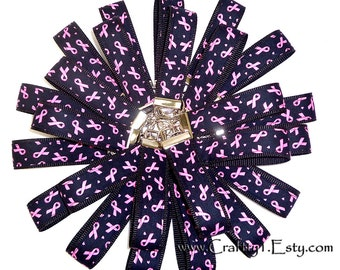 SPECIAL Qty 25: Pink Ribbon on Black - Breast Cancer Awareness Key Fob (Chain) - with Black Webbing