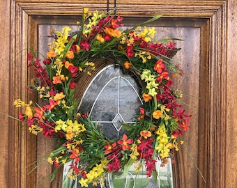 Summer Wreaths for Front Door, Spring Front Porch Wreath, Indoor Outdoor Decor, Red and Yellow Wreaths, Summer Wreaths, Spring Wreaths, hOME