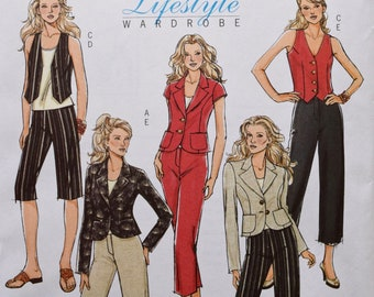 Butterick B4998 Sewing Pattern Lifestyle Wardrobe Jacket with Collar and Lapels Lined Vest and Straight Pants UNCUT Factory Folds Sizes 8-14