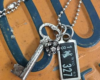 Antique 1963 WY mini License Plate Necklace
