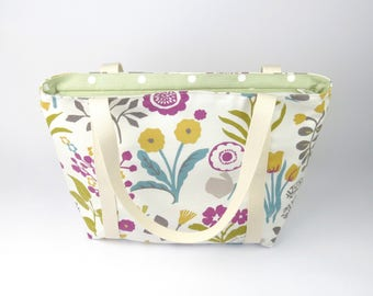 Floral Purse with Straps, Floral Tote Bag, Floral Shoulder Bag, Ladies Purse, Mom Purse, Tote with Strap, Fabric Handbags with Zipper, Gifts
