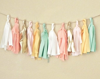 Fabric Tassel Garland Banner, Mint Pink Garland, Pink Gold Baby Shower Decorations, Boho Nursery Decor Girl, Peach Mint Gold Wedding Garland